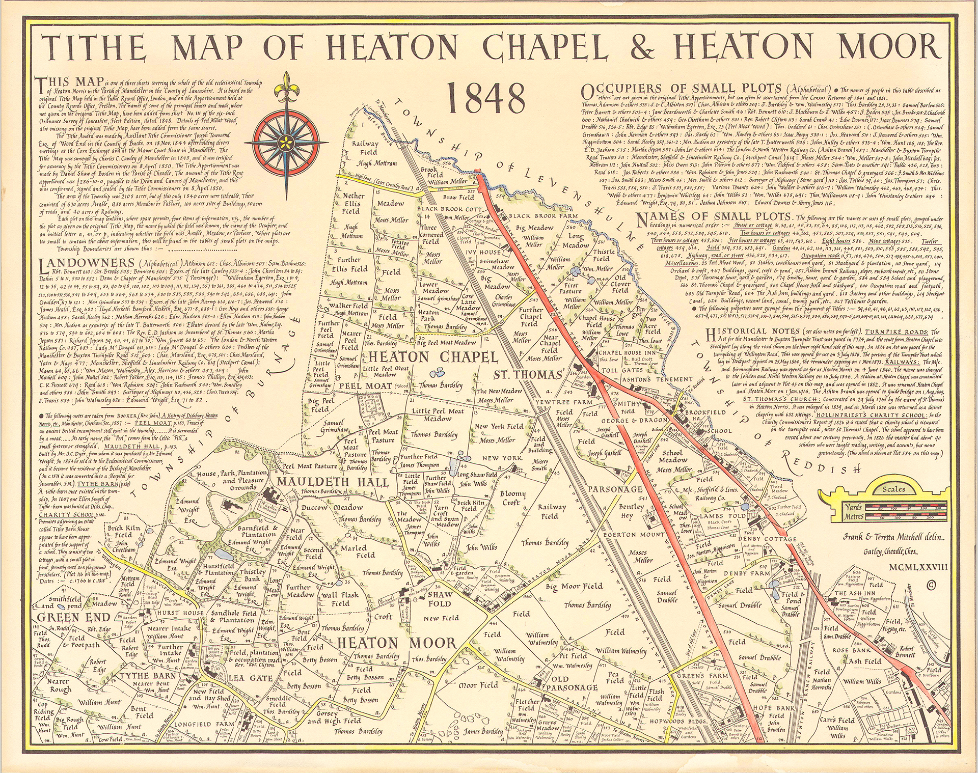 Tithe map of heaton Chapel and Heaton moor